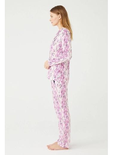U.S. Polo Assn. Kadın Boydan Patlı Pijama Takımı Pudra